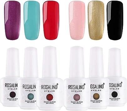 ROSALIND gel esmalte de uñas set Salon Soak Off UV LED barniz Lacquer 6 Pack 15 ml: Amazon.es: Belleza