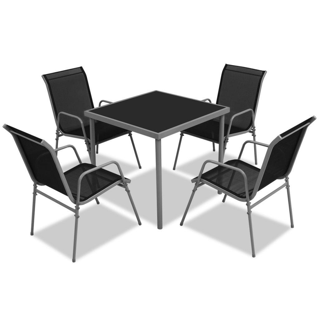 vidaXL 5-tlg. Gartenmöbel-Set Essgruppe schwarz online bestellen