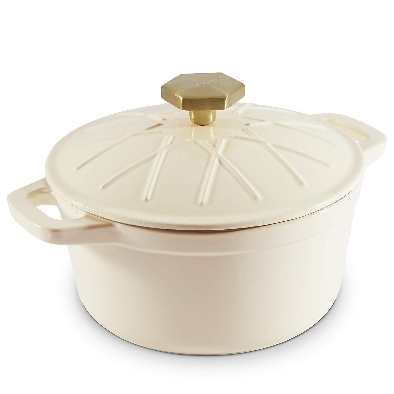 VonShef 2.5L Cast Iron Casserole Dish Cream – Non-Stick Enamel Coating – Signature VonShef Style Stew Pot
