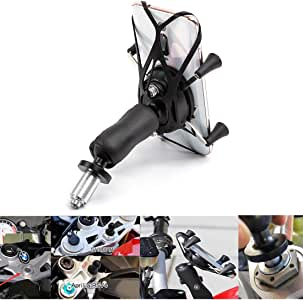 Motorcycle Phone Holder, Navigation Bracket Adjustable for Smartphone on Motorbike with Hole, Special for Yamaha R1 R6 BMW Honda with Round Holes