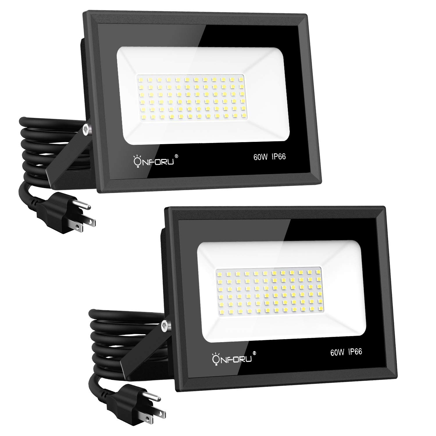 Onforu 2 Pack 60W LED Flood Light with Plug, 6,500lm Super Bright Work Light, 5000K Daylight White Security Lights, IP66 Waterproof Outdoor Landscape Floodlight for Yard, Garden, Playground, Party