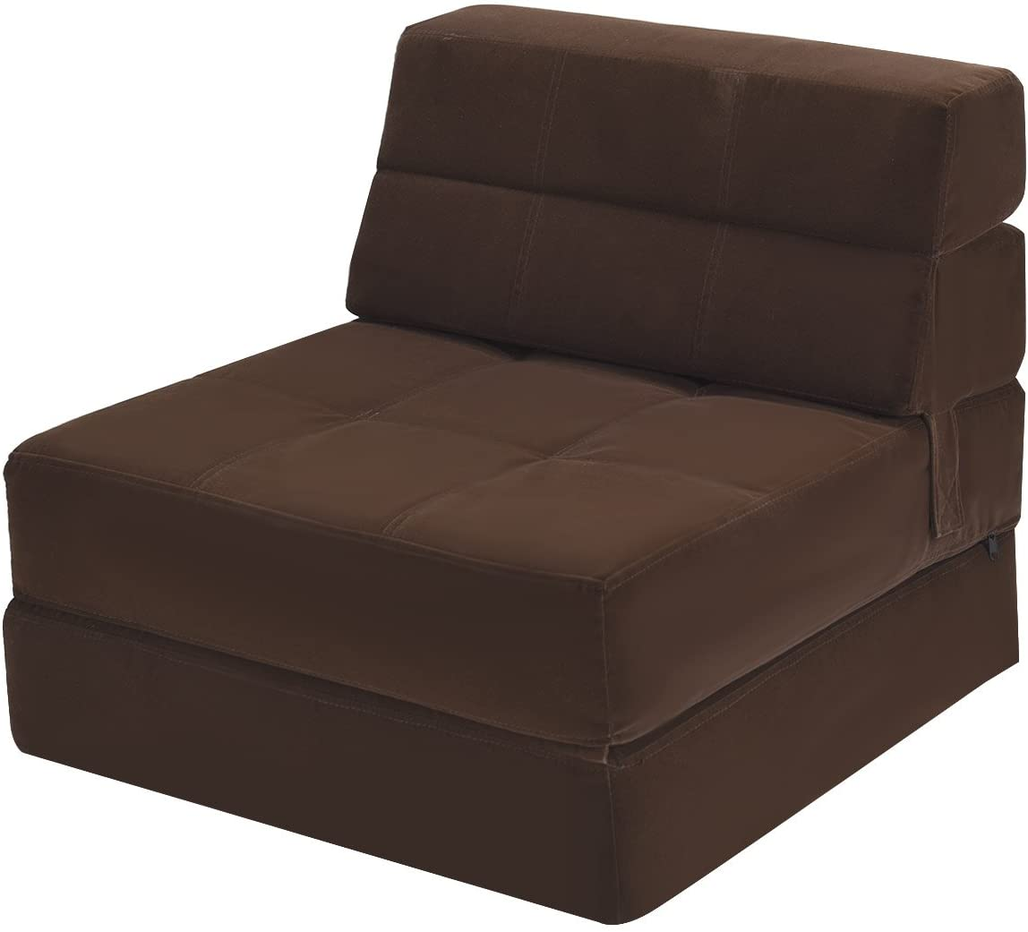 Giantex Fold Down Sofa Bed Floor Couch Foam Folding Modern Futon Chaise Lounge Convertible Upholstered Memory Foam Padded Cushion Guest Sleeper Chair Brown