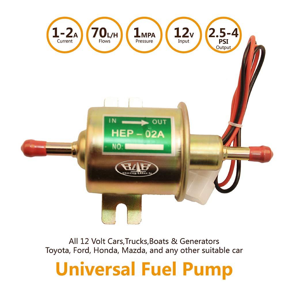 6414671 EP12S for E8012S Bang4buck Universal Electric Fuel Pump Low Pressure Carbureted Pumps 2.5-4 Psi 12 V 5//16 110 FD0002 L//h P60430