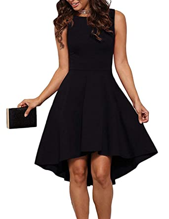 24f05b83f THANTH Womens Dresses Sleeveless High Neck High Low Party Cocktail Skater  Dress Black S