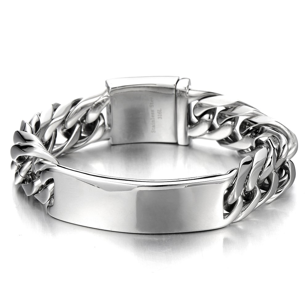 COOLSTEELANDBEYOND Masculine Curb Chain ID Identificaiton Bracelet for Men Stainless Steel High Polished MB-876