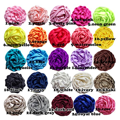 2.5 Inch Rosettes Satin Rose Fabric Flowers Hair Bow Headbands Making Embellishments (25pcs of pack) by KADIWOW