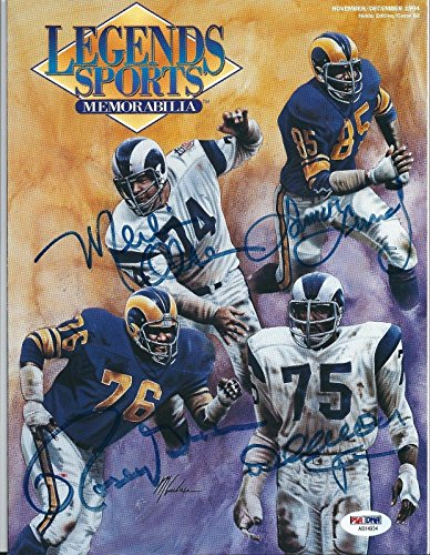 Merlin Olsen Rosey Grier Lamar Lundy Deacon Jones Signed Legends Magazine - PSA/DNA Certified - Autographed NFL Magazines ()