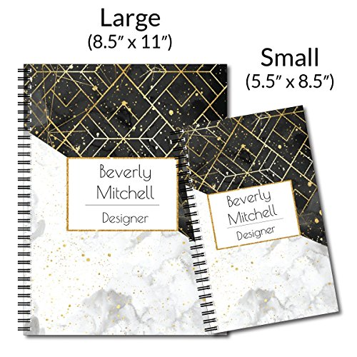 Elegant Marble Personalized Modern Spiral Notebook/Journal, 120 College Ruled or Checklist Pages, durable laminated cover, and wire-o spiral. 8.5x11 | 5.5x8.5 | Made in the USA Photo #3