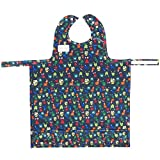 BIB-ON, A New, Full-Coverage Bib and Apron Combination for Infant, Baby, Toddler Ages 0-4+. New BIB-ON with NECK SNAP Buttons! (Silly Alien Critters)