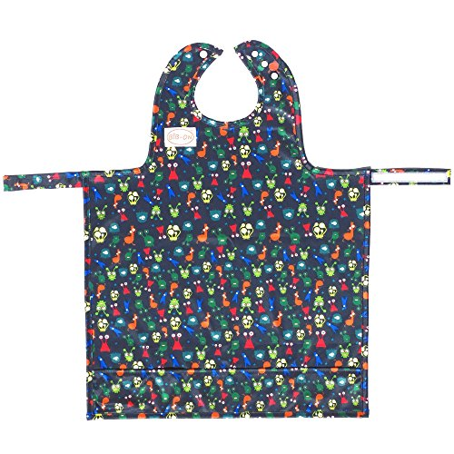 (BIB-ON, A New, Full-Coverage Bib and Apron Combination for Infant, Baby, Toddler Ages 0-4+. New BIB-ON with Neck SNAP Buttons! (Silly Alien Critters))