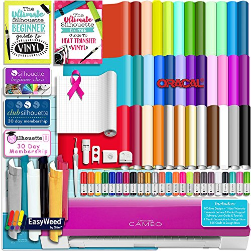 Silhouette PINK CAMEO 3 Bluetooth Starter Bundle with 36 12x12 Oracal Sheets, Siser Easyweed T-Shirt Vinyl, Membership, Transfer Paper, Guide, Class, 24 Sketch Pens, and More by Silhouette