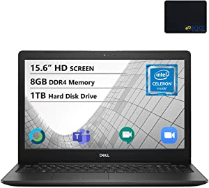 "Dell Inspiron 15.6"" HD Laptop, Intel 4205U Processor, 8GB DDR4 Memory, 1TB HDD, Online Class Ready, Webcam, WiFi, HDMI, Bluetooth, KKE Mousepad, Win10 Home, Black"
