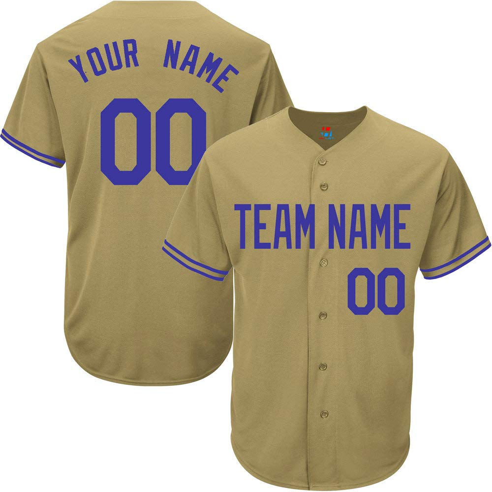 Gold Custom Baseball Jersey for Men Game Embroidered Team Player Name & Numbers,Blue Size M by Pullonsy