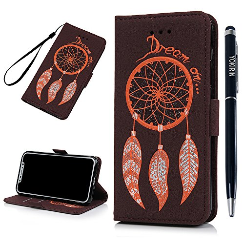 Iphone X Case  Embossed Bling Dream Catcher Skin Card Cash Slots Stand Featute Design Dual Use Flip Pattern Premium Pu Leather Fold Wallet Pouch Cover For Iphone X With Stylus Pen By Yokirin  Brown
