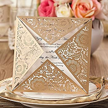 Amazon doris home wedding invitations wedding invites doris home wedding invitations wedding invites invitations cards wedding invitations kit square gold laser cut stopboris
