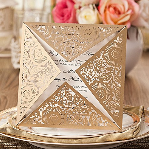 Doris Home Square Gold Laser-cut Lace Flower Pattern Wedding Invitations Cards,100pcs,CW520_GO