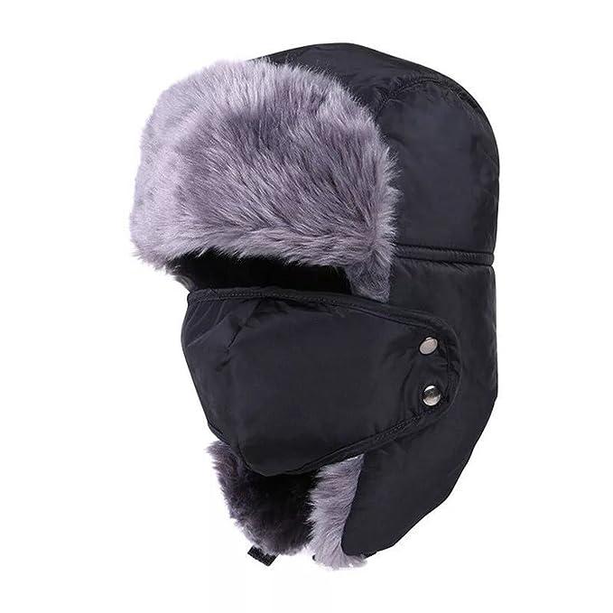 4e56f11c7e8 JOYEBUY Winter Warm Unisex Trooper Hat Hunting Hat Russian Ear Flap Chin  Strap Windproof Mask (