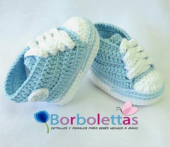 Patucos para Bebé Recien Nacido, tipo Converse, 0-3 meses Azul ...