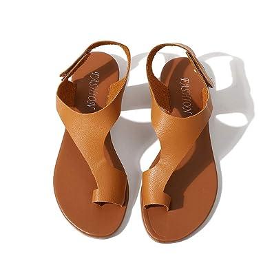 c780ad6fcdc Newday Heaven Women s Ladies Leather Sandals T-Bar Clip Toe Ankle Strap  Flat Summer Flip Flops Beach Sandals Size 3-8UK  Amazon.co.uk  Shoes   Bags