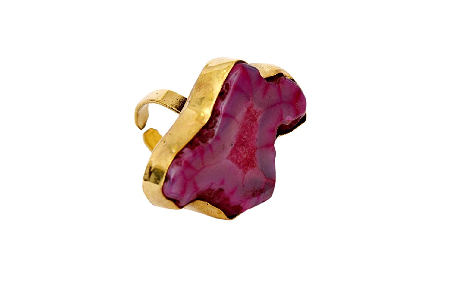 JD/&JD Adjustable Gold Plated Geode Agate Pink Druzy Ring Jewelry KE1207