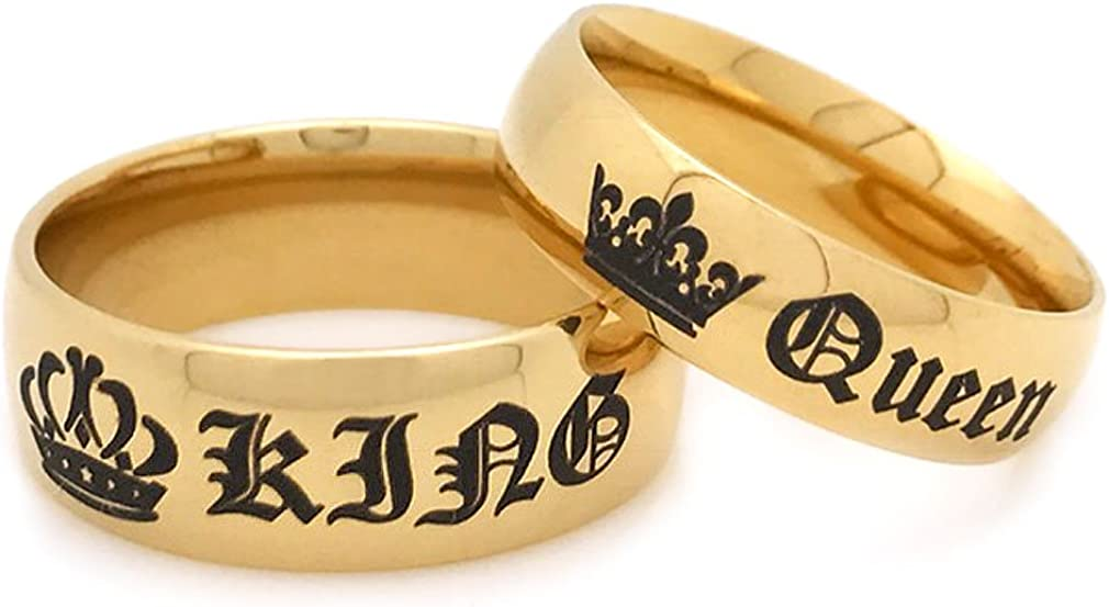 Kriskate /& Co Couples Ring SSR616 His /& Hers Stainless Steel Ring King and Queen Rings Anniversary Rings