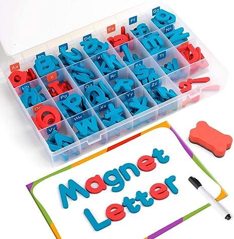 Amazon.com: Coogam Letras magnéticas 208 piezas con pizarra ...