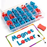 Coogam Magnetic Letters 208 Pcs with Magnetic Board and Storage Box - Uppercase Lowercase Foam Alphabet ABC Magnets for Fridge Refrigerator - Educational Toy Set for Classroom Kids Learning Spelling