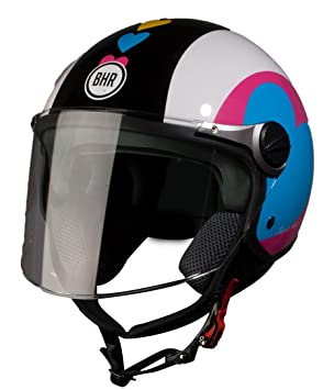 BHR 93783 Demi-Jet Super Love 710 Casco de Moto, Talla 57/58