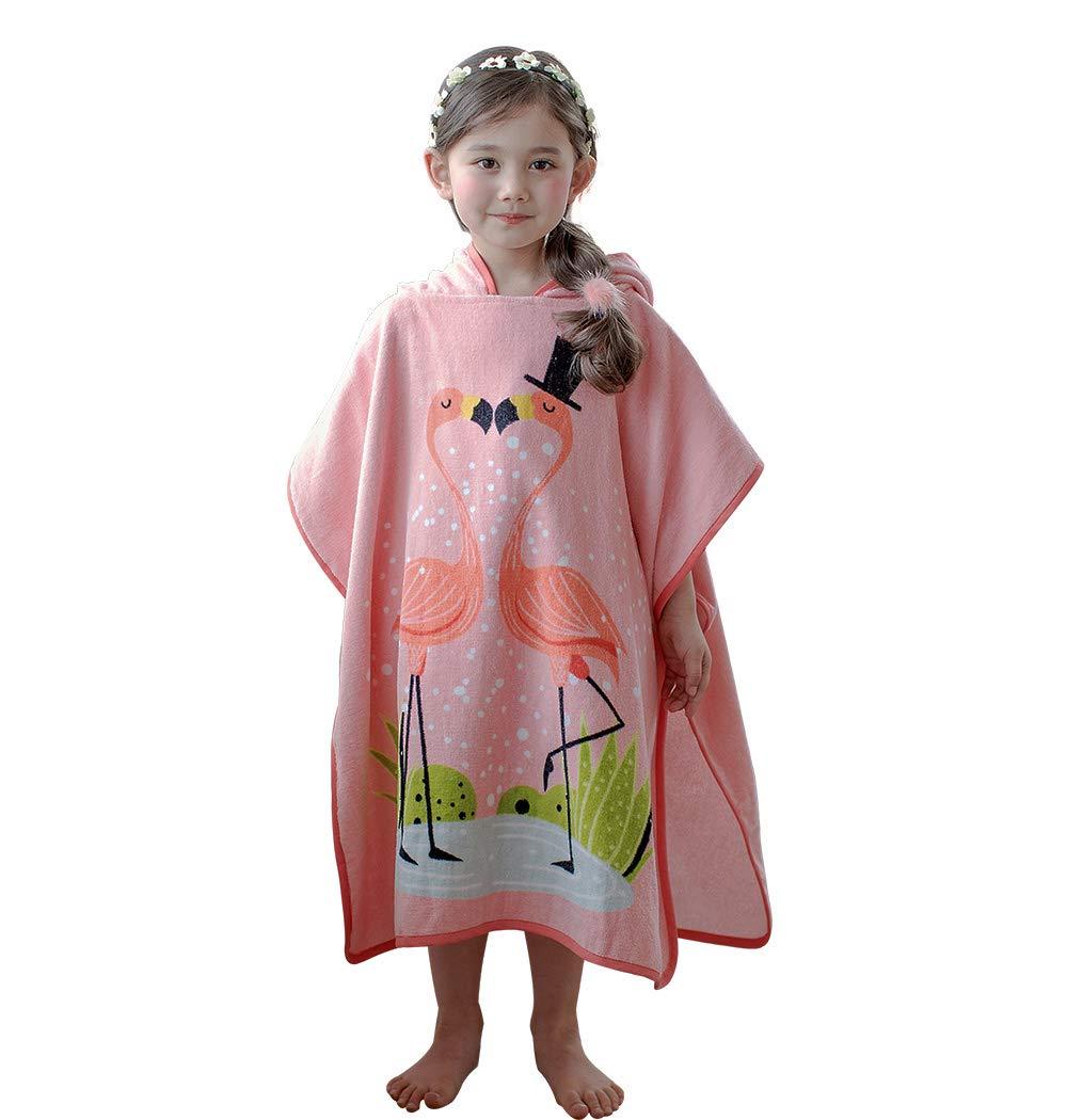 Anikea Kids Children Hooded Poncho Flamingo Bath/Beach/Shower Towel 27.5'' x 55'' 100% Cotton Super-Absorbent for Girls