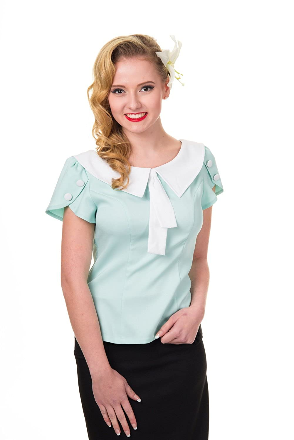 Shop 1960s Style Blouses, Shirts and Tops Banned 60s Vintage Retro Two Tone Aqua Tie Neck Sweetheart Top Shirt $36.00 AT vintagedancer.com
