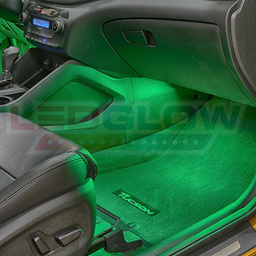 Ledglow 4pc Green Led Car Interior Underdash Lighting Kit Universal Fitment Music Mode