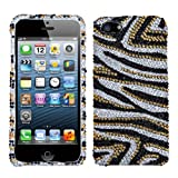 Asmyna IPHONE5HPCDM716NP Luxurious Dazzling Diamante Bling Case for iPhone 5 - 1 Pack - Retail Packaging - Golden Zebra
