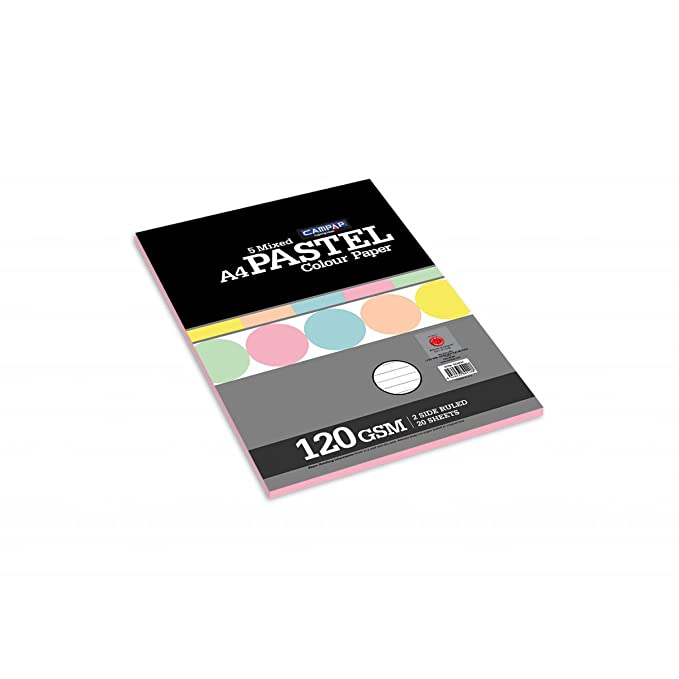 Campap A4 size Paper pack   Pastel colored sheets  120 gsm, 20 sheets of 5 mixed colors in a pack, TWO SIDE RULED    Pack of 2