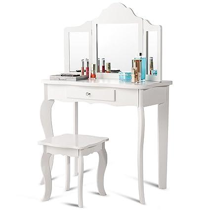 Genial Costzon Kids Wooden Vanity Table U0026 Stool Set, Princess Makeup Dressing Table  With Two 180