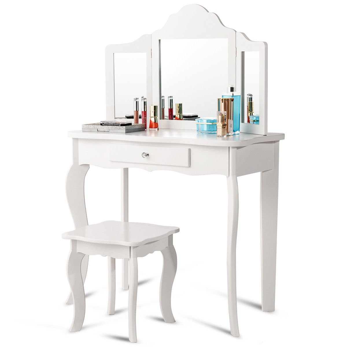 Costzon Kids Wooden Vanity Table & Stool Set, Princess Makeup Dressing Table with Two 180° Folding Mirror, White