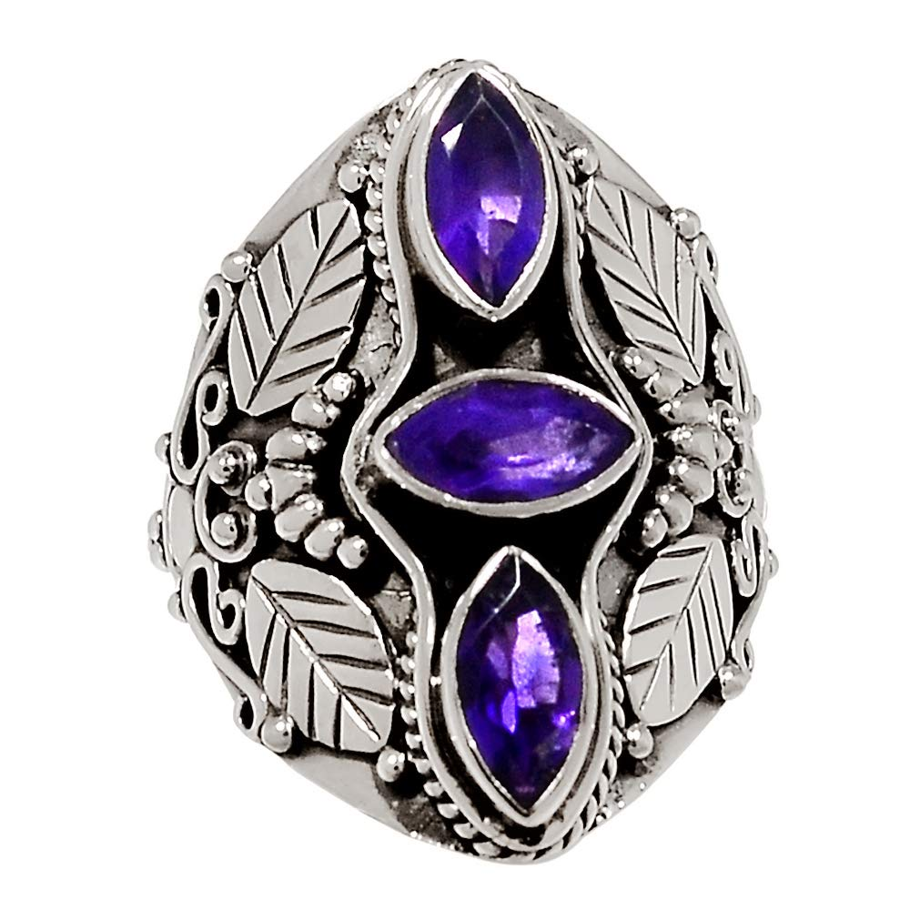 Amethyst 925 Sterling Silver Ring Jewelry Size 8 29673R Xtremegems Leaves