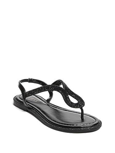 f49833f571d GUESS Factory Women s Saxxy Rhinestone Glitter Sandals Black