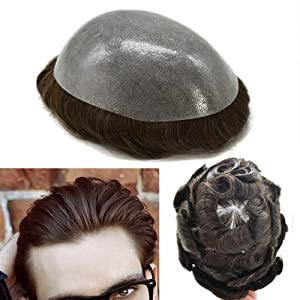 """FACE MIRACLE Durable Mens Hair Replacement System Unit Full Poly Thin Skin Mens Toupee Wig Hairpieces 100% Human Hair Wig For Men (8""""10"""", 3# Dark Brown-120% Medium Light to Medium Density)"""