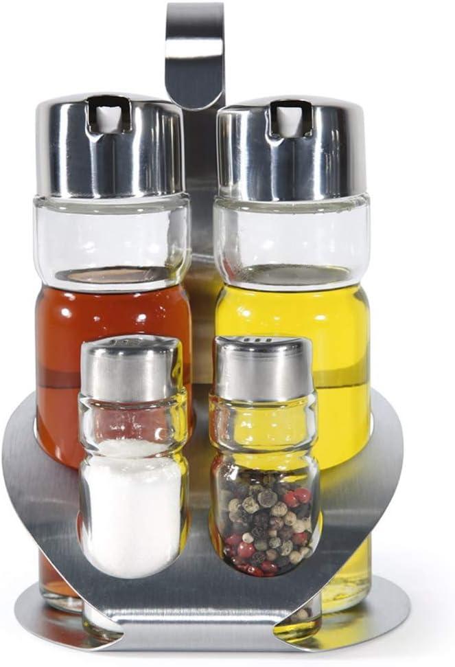 MGE - Set de Aceitera, Vinagrera y Recipiente para Sal y Pimienta