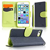 AINIMI iPhone 8/7 Plus Wallet Flip Case Protective PU Leather Case [Support Wireless Charging] with Card Slot/ Wristlet Strap/ Stylish Slim Folio Kickstand Stand Cover for iPhone 7/8 Plus ( BU&GR/ C)