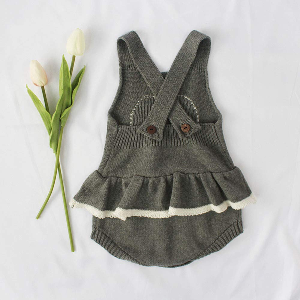 Theshy Newborn Baby Girls Boys Heart Knitted Toddler Overall Jumpsuit Clothes Outfits Childern Clothes