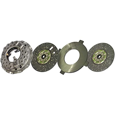 """IATCO LP1072-135-IAT 14"""" x 1-1/2"""" DLB Stamped Steel Clutch (Two-Plate, Push-Type, Organic / 8-Spring, 2000 Plate Load / 600 Torque): Automotive"""