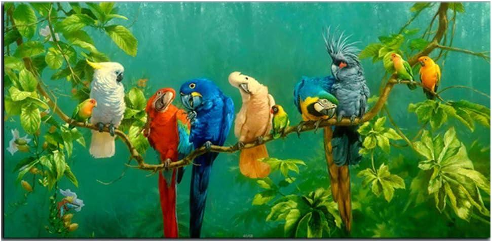 Pintura al Óleo de los Loros en el Paisaje de Ramas Impresión Lienzo Pintura Decorativa para sala de Estar, Decoración de la Pared del Hogar del Dormitorio,30 * 60cm