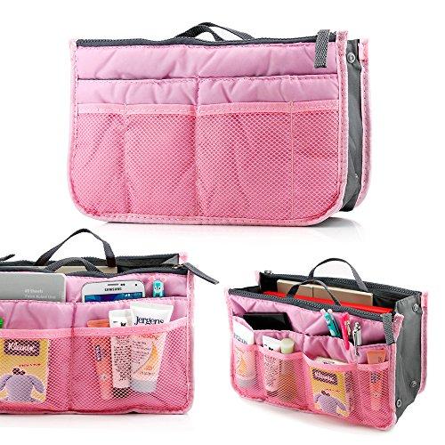 GEARONIC TM Lady Women Travel Insert Organizer Compartment Bag Handbag Purse Large Liner Tidy Bag - Pink (Bag Bag Tote Health)