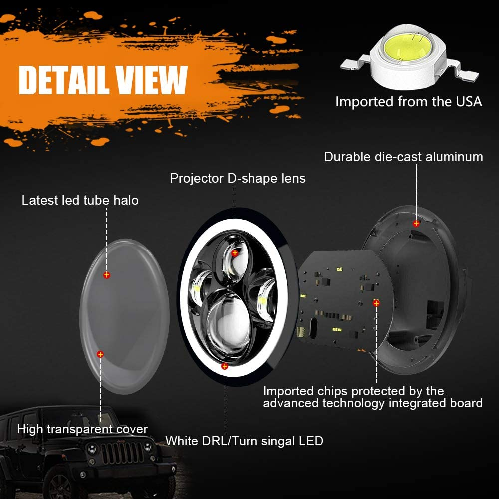 J003T-pair 7 inch LED Headlight Amber White Headlight Angel Eyes DOT//E-MARK Approved Hi//lo Beam and DRL Headlamp Halo