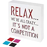 KAUZA Relax We're All Crazy Wood Plaque with Inspiring Quotes | Wall & Tabletop Decoration | Funny Home & Office Decor (Red)