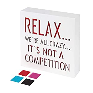 KAUZA Relax We're All Crazy Sign - Office Decor Sayings Wall Art Signs Quotes Сubicle Fun Home Decorations Accessories for Your Desk 5,5 x 5,5 Inch