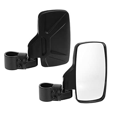 "SPAUTO UTV Side View Mirrors (Pack of 2) For 1.6"" - 2inch Roll Cage Bar, Universal Offroad Rear View Side Mirror for UTV High Impact Shatter-Proof Tempered Glass(Fits Driver and Passenger Side): Automotive"
