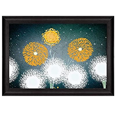 Incredible Craft, Premium Product, Vector Illustration of Yellow and White Dandelions on a Teal Starry Background Nature Framed Art