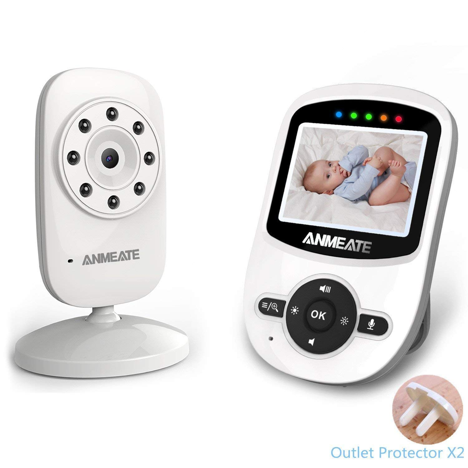 Video Baby Monitor with Camera and Infrared Night Vision, Two-Way Talkback, and Temperature Monitor - Long Range, Monitor Your Baby All Round The Clock,Include 2 Piece Outlet Protector ANMEATE SM2408